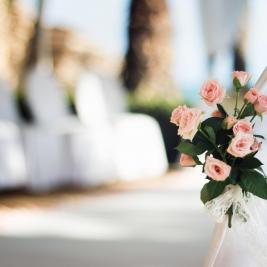 Wedding flowers on the beach