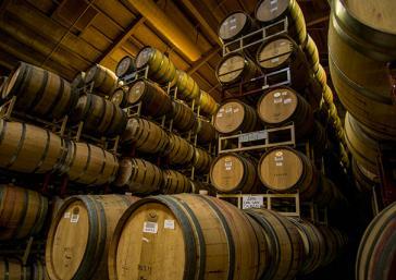 French and American oak barrels