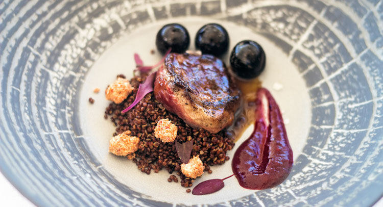 Supreme pigeon, spicy chutney of cherries and shades of kirsch