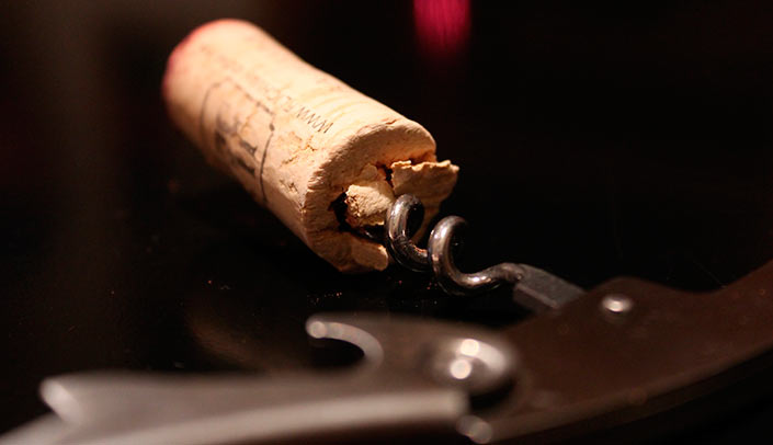 The cork in the wine tasting
