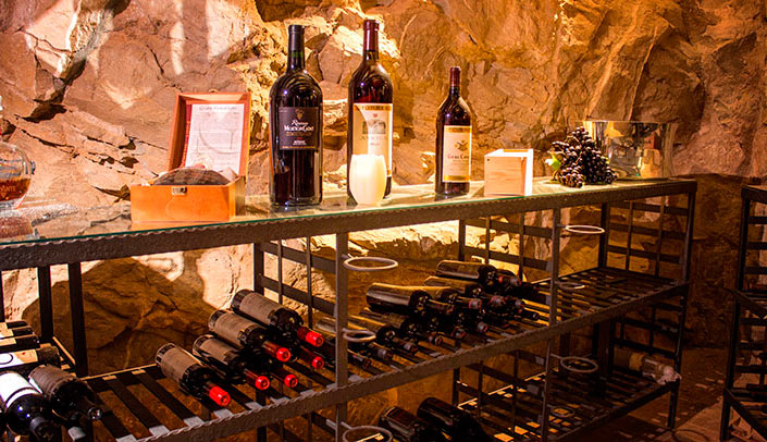 Red and white wines in the cellar