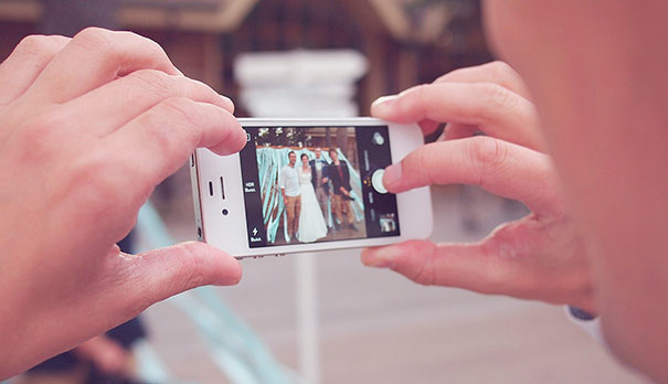 Wedding photography using a mobile phone